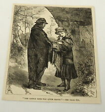 1884 magazine engraving ~ THE LITTLE MITE WAS QUITE HAPPY - girl with baby
