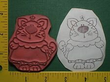 CUTE KITTY CAT LADY in DRESS Animal VINTAGE unmounted UM Rubber Stamp 646