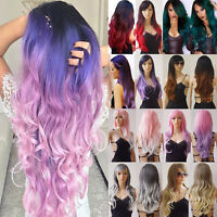 Long Hair Straight Wave Full Wig Ombre Pink Purple Black Red Green Brown Wigs