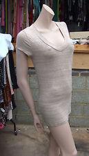 Merona S P Stunning Sheer Below Hip Extra Long Fine Beige Cap Sleeve Top V Front