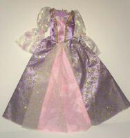 2001 Barbie Doll Pink Purple Gold Glitter Puffy Sleeve Rapunzel Princess Dress