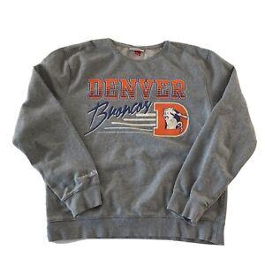 Denver Broncos Mitchell & Ness Oversized Pullover Sweatshirt Women's Size L Gray