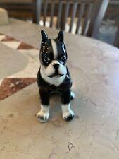 "Vintage Boston Terrier Figurine Black White Dog 4"""