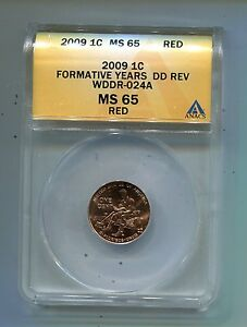 2009 P Lincoln Cent Error -  Formative Years-WDDR-024A-ANACS -M.S.65 Red!