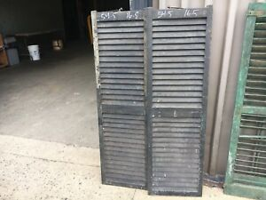 "PaiR 19th century louvered victorian window house shutter MAINE 54.5"" hx 16.5"" w"