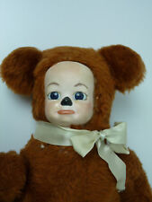 "Vintage Porcelain crying face Teddy Bear,musical 14"" jointed arms plush 60's 70'"