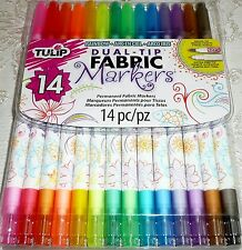 Tulip DUAL-TIP FABRIC MARKERS 14 Rainbow Colors - Brush & Extra Fine Tip
