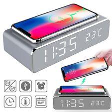 Réveil Chargeur Universel Sans Fil a INDUCTION Horloge Numérique LED Thermomètre