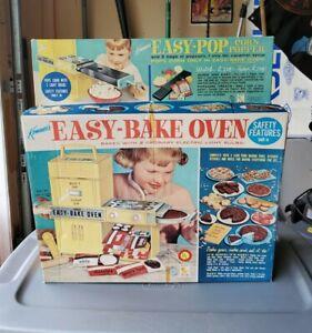 Vintage 1964 Kenner Easy Bake Oven Blue Original Box Insert Corn Popper Complete