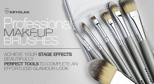 Kryolan 8314 Makeup Brush Set 7 Synthetic Fiber Brushes & Bag Professional Stage