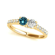 1.28 Cts Blue & White   VS2-SI1 2 Stone Diamond Solitaire Ring 14k Yellow Gold