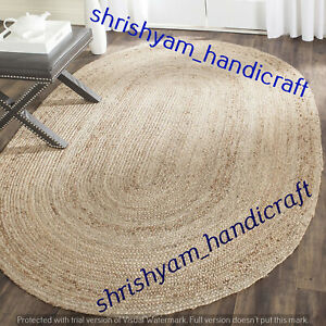 Natural Jute Braided Oval Weave Rug Area Rug Handmade Floor Carpet Jute Room Rug
