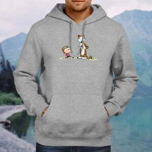 Calvin and Hobbes Gun Fight Hooded Sweater Jacket Pullover Hoodie Sweatshirt Top