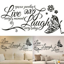 Live Laugh Love Quotes Butterfly Wall Stickers Art Room Decal Home Decor DIY