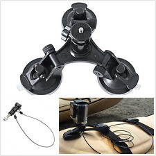 "Car Offroad Portable Triple Low Angle Suction Cup Mount & 12"" Lanyard For Camera"