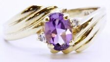 10K Solid Yellow Gold Oval Amethyst & Diamond Accent Bypass Ring Size 6.5