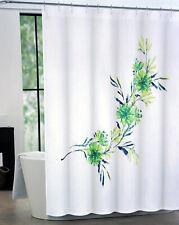 "Tahari Home Fabric Shower Curtain White Floral Green/Blue Martina 72"" X72"""