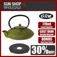 D.LINE Teaology Large Cast Iron Tea Pot 770ml Dragonfly Green BONUS TRIVET!