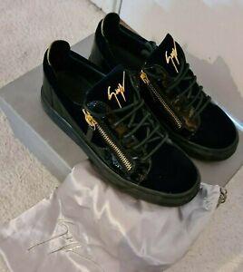 giuseppe zanotti Zip low Sneaker size 7.Navy Blue Velvet Sneakers.