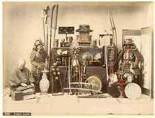 Japon, Curio Shop Vintage albumen print  Tirage albuminé aquarellé  21x27