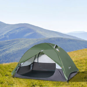 Outsunny Two-Man Dome Camping Tent Rainfly 4 Windows Doors Double Layer Shelter