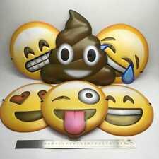 SET OF 6 EMOJI FACE MASKS - FANCY DRESS PARTY SMILEY EMOTICON KIDS COOL GIFT