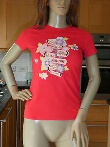 *MOSCHINO* Ladies Bright Red WAY TO MOSCHINO GRAPHIC T-SHIRT uk10 BNWT rrp£216