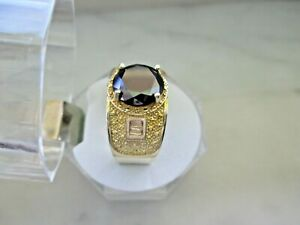 14k Yellow Gold Plated 10.5mm Black Diamond Men's Ring