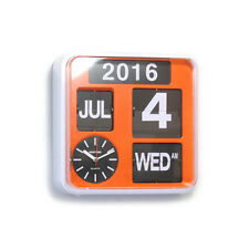 "Fartech Retro Modern 9.5"" Auto Flip Calendar Wall Clock Orange"