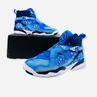 Air Jordan 8 Retro (GS) 305368-400 Boys Cobalt Blaze/Blue Void-White Sz 7Y