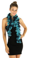Knit Open Weave Curly Ruffle Scarf Turquoise & Blue