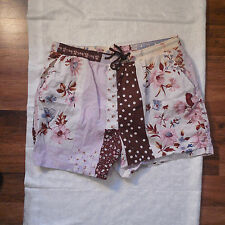 ETRO Men's Swim Shorts Trunks Size XL Purple/Brown Floral Polka Dot Patchwork