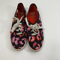Keds Kate Spade New York Sneakers Womens Size 8 Black Printed Lace Up Floral