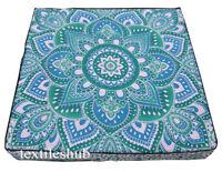 Indian Floor Cushion Cover Ombre Mandala Cotton Pillow Pouf Dog Bed Medita Case