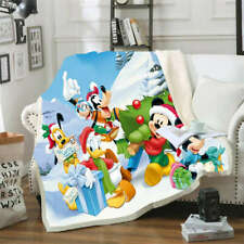 Mickey Donald Happily Take Gifts 3D Warm Plush Fleece Blanket Picnic Sofa Couch