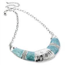 Un bel Colore Rodio AQUA BLUE SMALTO Crystal Mezzaluna Collana Catena