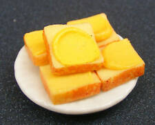 1:12 Scale 5 Bread & Butter Slices Loose On A Ceramic Plate Dolls House Kitchen