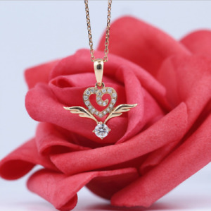2 Ct Round Cut Diamond Heart Angel Wings Pendant Free Chain 14K Rose Gold Finish
