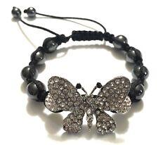 Dark Grey Hematite and Clear Rhinestone Butterfly and Beads Shamballa Bracelet