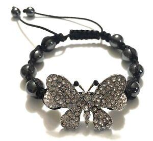 Tina Maries Jewelry Hematite & Rhinestone Butterfly & Beads Shamballa Bracelet