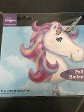 "MAGICAL UNICORN HEAD SUPERSHAPE FOIL LILAC BALLOON 33"" x 29"" BY ANAGRAM"