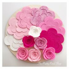 Pink Popsicle 12 Large Roses Felt Flower Pack ~ Felt Flowers ~ Die Cuts