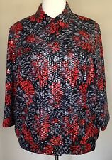 Ruby Rd Jean Style Jacket Button Front Heat Set Threadless Sequins Red Black 10