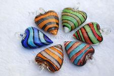 Wholesale LOts 6Pcs Heart Strip Lampwork Murano Glass Pendants Fit Necklace FREE