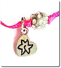 Bracelet Odys paris cordon rose breloque coeur et samballa argenté