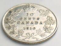 1910 Canada Ten 10 Cent Silver Dime Canadian Circulated Edward VII Coin J654