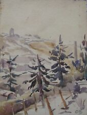 """UNKNOWN ARTIST INIT """"GB"""" SMALL WC """"FIR TREES IN THE SNOW"""" C 1940"""