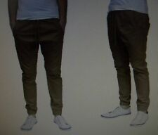 MENS Medium GALAXY KHAKI BEIGE SLIM FIT JOGGER PANTS elastic waist drawstring M