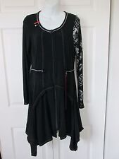 VITRIN Design Black Steampunk Goth Asymmetrical Hem Full Zipper Retr Artsy S NWT