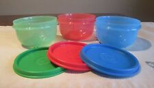 Tupperware NEW LOT 3 RED GREEN BLUE  Ideal Lit'l Little 8 oz snack Bowls H seals